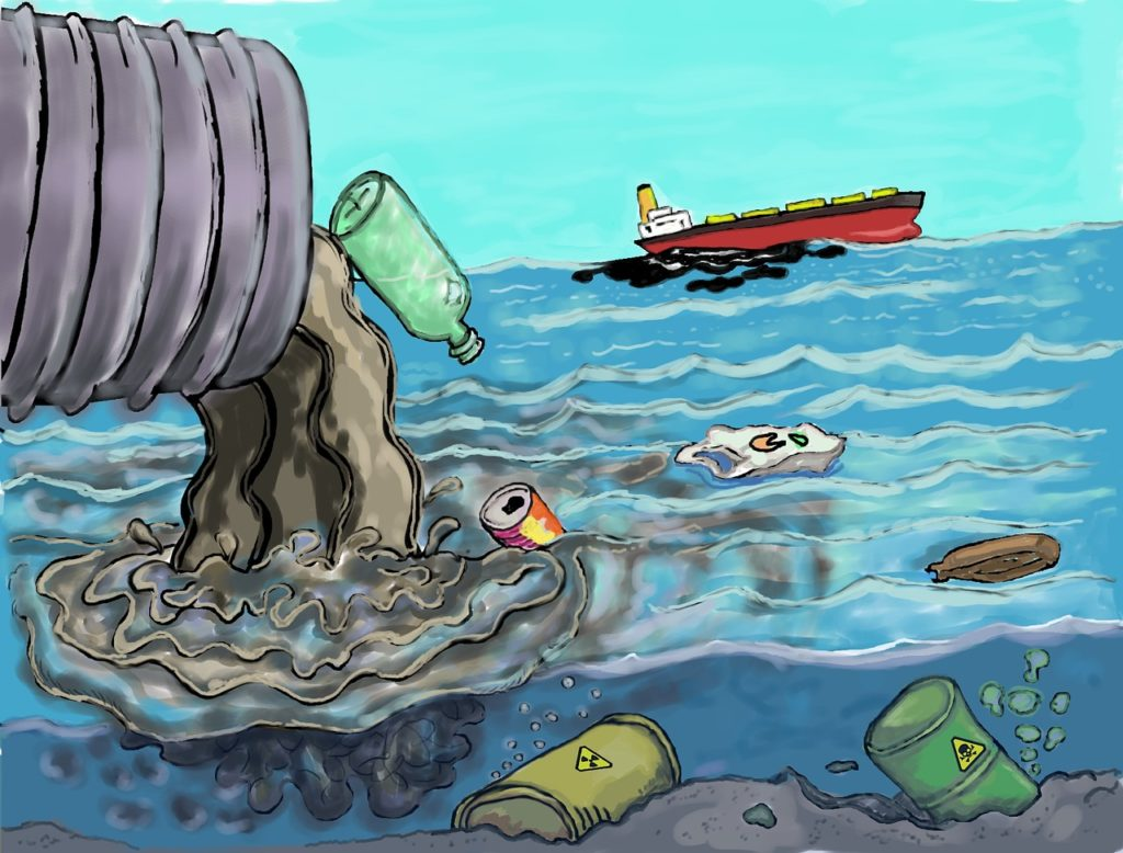 Plastic garbage thrown directly to the sea with a sailing ship.